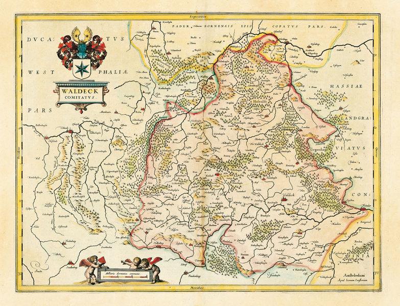 Hist Karte Grafschaft Waldeck In Hessen 1635 Plano Janssonius