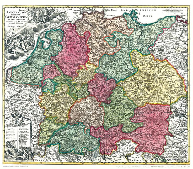 Historische Karte Deutschland Germanicum 1715 Plano Homann