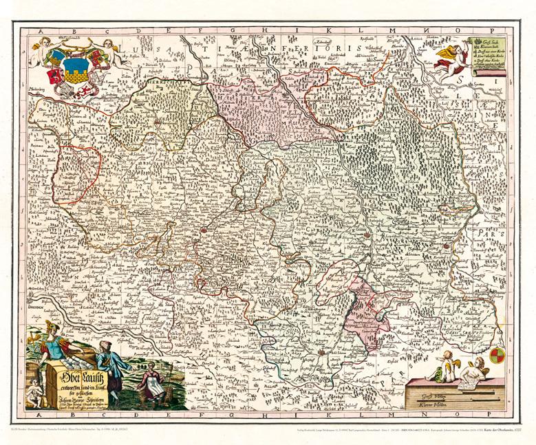 Lausitz Karte.Historische Karte Oberlausitz 1727